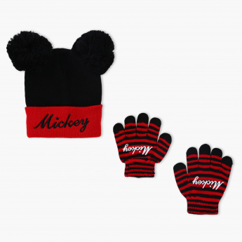 Mickey Mouse Embroidered Cap and Gloves Set