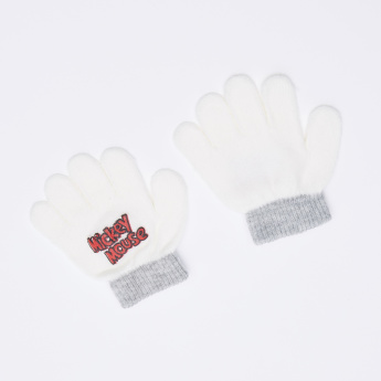 Mickey Mouse Embroidered Cap with Gloves