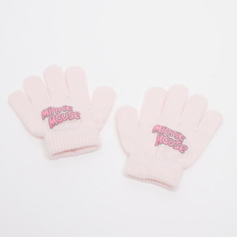 Minnie Mouse Embroidered Beanie Cap with Gloves