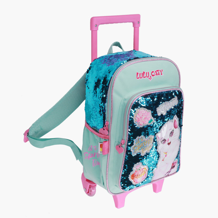 Rainbow Max Sequin Detail Trolley Backpack with Adjustable Straps - 16 inches