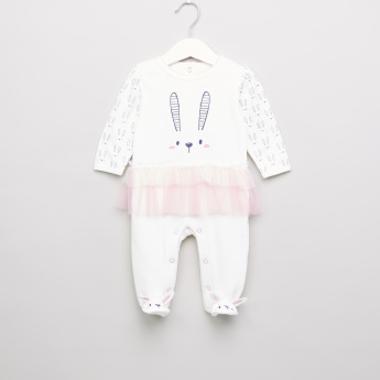 Juniors Printed and Lace Ruffle Detail Closed Feet Sleepsuit