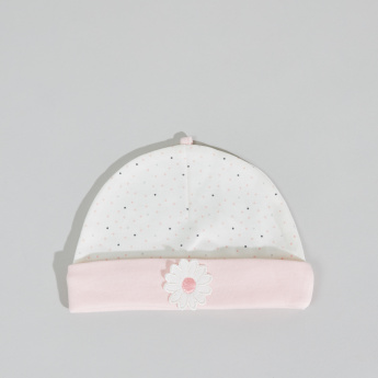 Juniors Dot Printed Cap with Floral Applique
