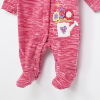 Juniors Flower Applique Long Sleeves Sleepsuit