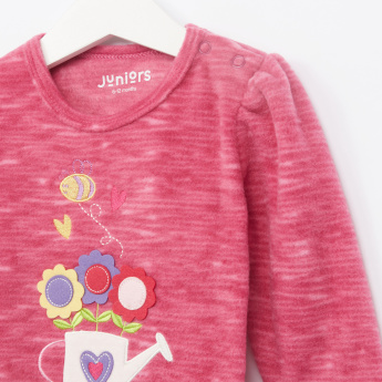 Juniors Embroidered T-Shirt and Textured Pants