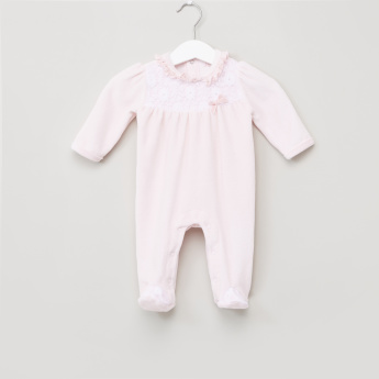 Juniors Lace and Frill Detail Closed Feet Sleepsuit