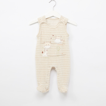 Juniors Striped Dungarees with Long Sleeves T-Shirt