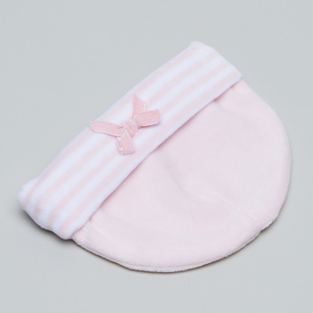 Juniors Bow Detail Cap with Striped Cuff