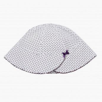 Juniors Polka Dot Printed Cap with Bow Applique
