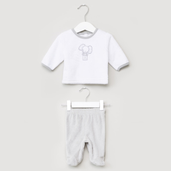 Juniors Plush Long Sleeves T-Shirt and Closed Feet Pyjama Set
