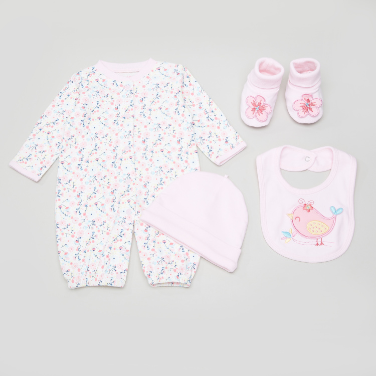 Juniors 4-Piece Printed Value Pack Set with Applique