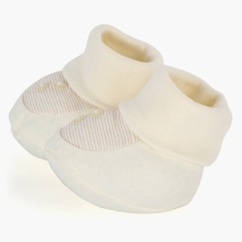 Juniors Striped  Booties with Pearl Detail