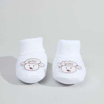 Juniors Cotton Booties with Applique in Net