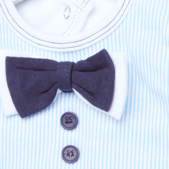 Juniors Striped Bib with Bow and Button Applique