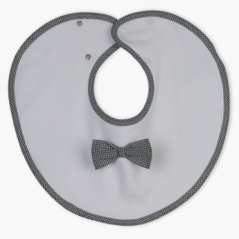 Juniors Round Bib with Bow Applique and Press Button Closure