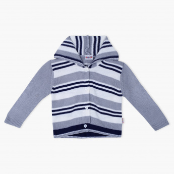 Juniors Striped Long Sleeves Cardigan with Hood