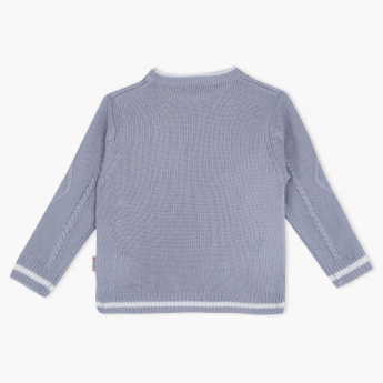 Juniors Woven Round Neck Long Sleeves Sweater