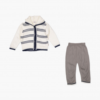 Juniors Hooded Cardigan and Pants Set