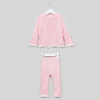 Juniors Textured Pullover and Full Length Pyjama Set
