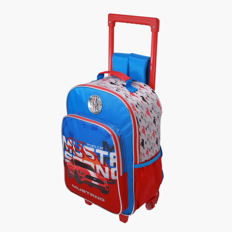 Mustang Printed Trolley Backpack - 14 inches