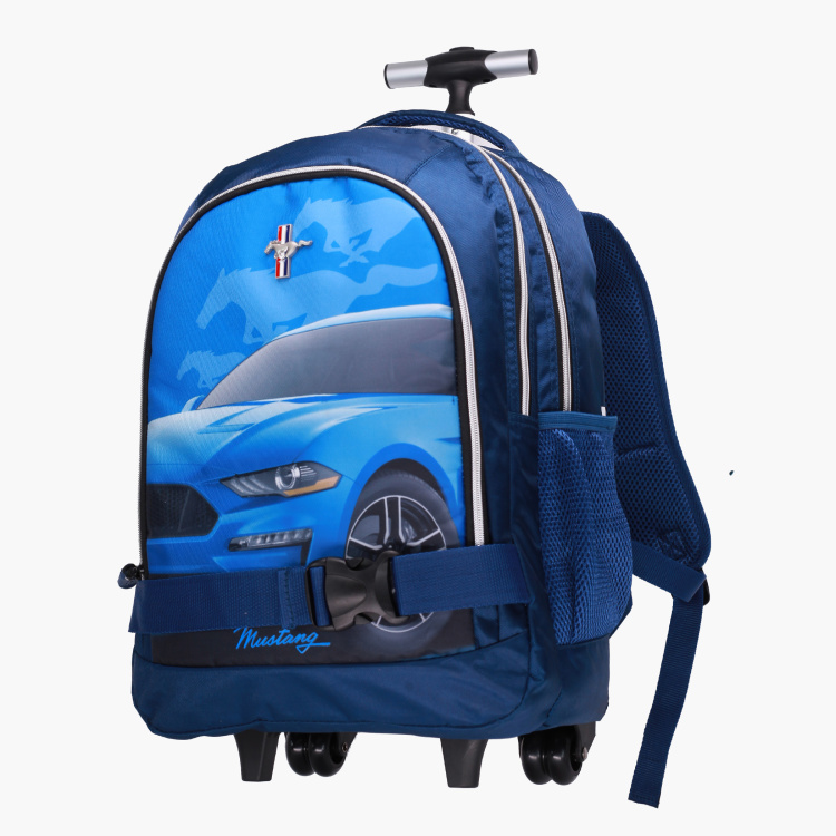 Mustang Printed Trolley Backpack - 18 inches