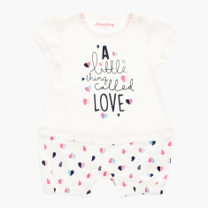 Juniors Graphic Print Romper with Round Neck and Short Sleeves