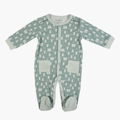 Juniors All-Over Print Closed Feet Sleepsuit with Long Sleeves
