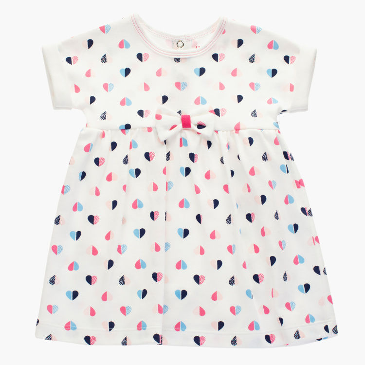 Juniors Heart Print Dress with Short Sleeves