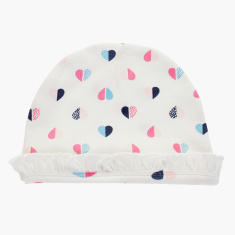 Juniors All-Over Heart Print Cap with Cuffed Hem