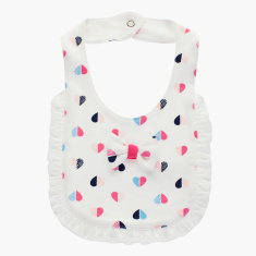 Juniors Heart Print Bib with Ruffle Detail and Snap Button Closure