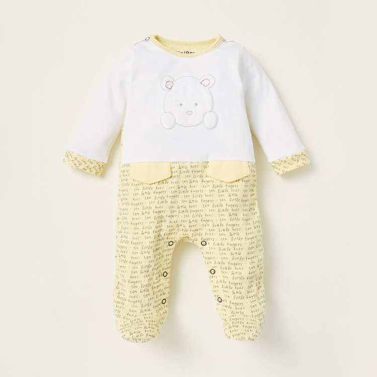 Juniors Text Print Closed Feet Sleepsuit with Press Button Closure