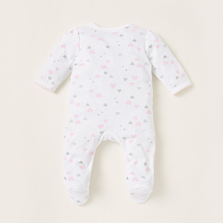 Juniors All-Over Heart Print Closed Feet Sleepsuit with Long Sleeves