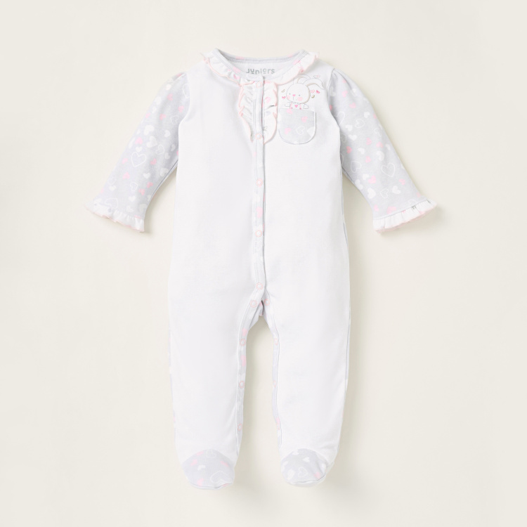Juniors Heart Print Closed Feet Sleepsuit with Long Sleeves