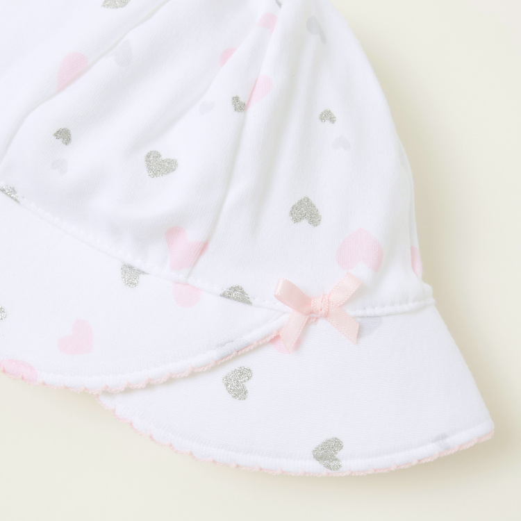 Juniors All-Over Heart Print Cap with Bow Applique Detail