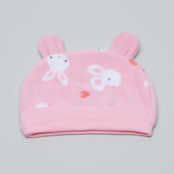 Juniors Printed Cap with Ear Appliques
