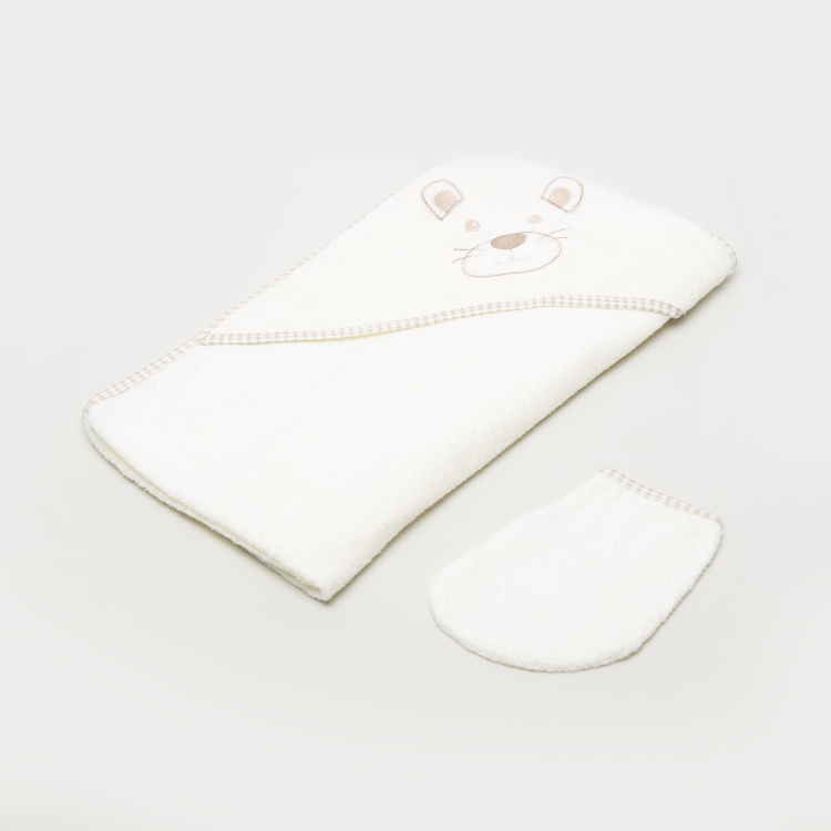 Juniors Hooded Towel and Mitten Set - 75x90 cms