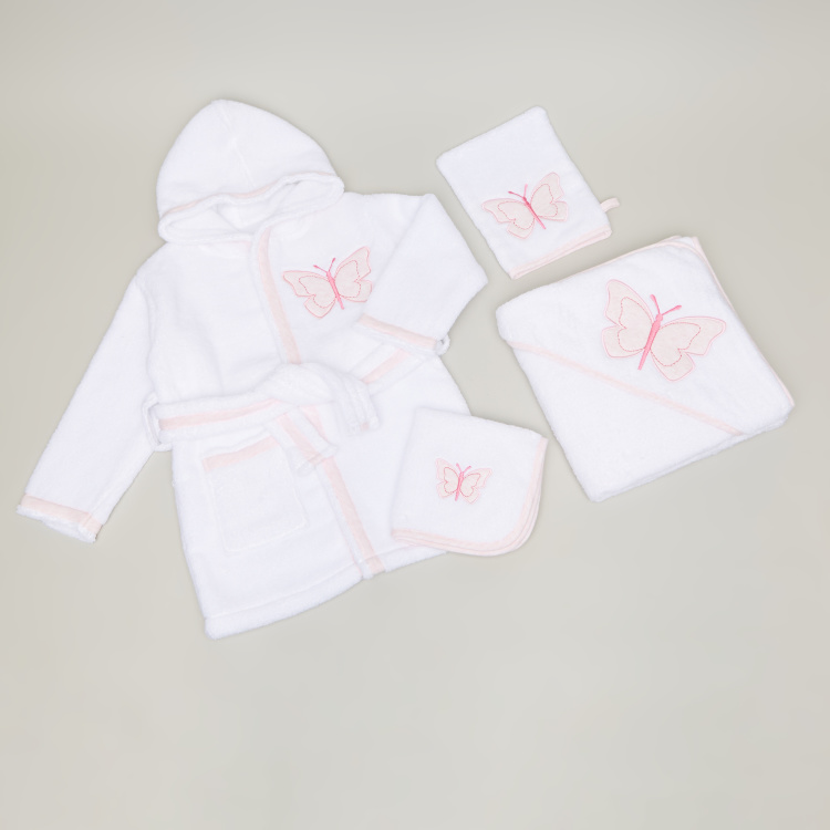 Giggles Textured 4-Piece Bathrobe Set