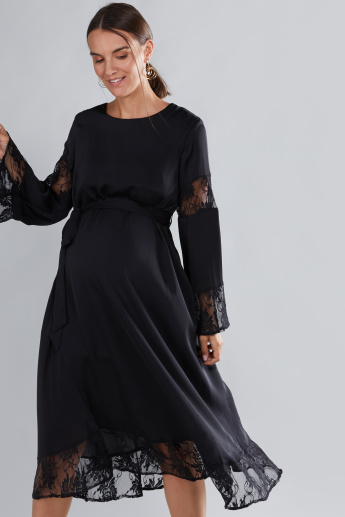 House of Napius Maternity Lace Detail Midi Dress with Round Neck