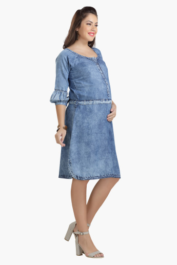 House of Napius Maternity Denim Dress with Balloon Sleeves