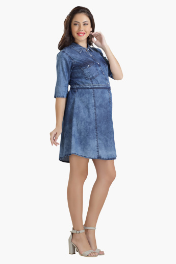 House of Napius Maternity Mini Denim Dress with Flap Pockets