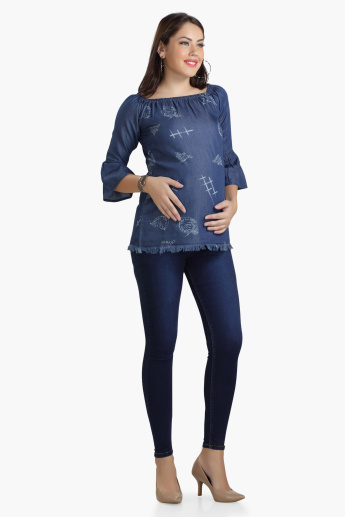 House of Napius Maternity Denim Tunic with Bell Sleeves