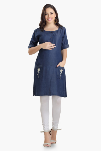 House of Napius Maternity Denim Dress with Embroidered Pockets