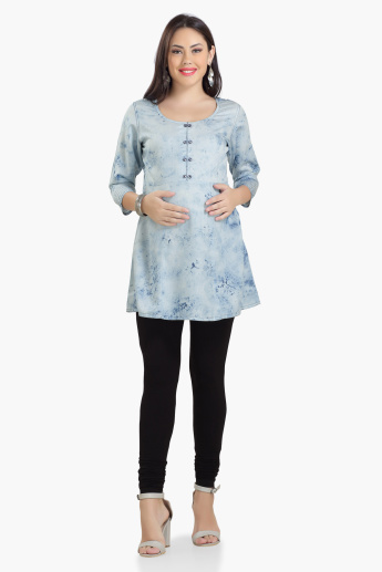 House of Napius Maternity Tunic with Stonewash Detail