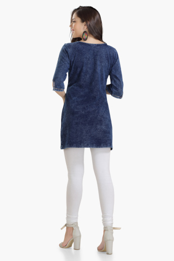 House of Napius Maternity Denim Tunic with Embroidery
