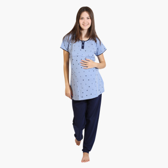 House of Napius Maternity Printed Feeding Top and Pyjama Set