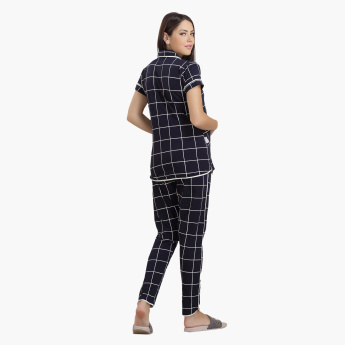House of Napius Maternity Chequered Shirt and Pyjama Set