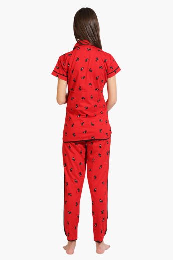 House of Napius Maternity Printed Long Sleeves Shirt and Pyjama Set