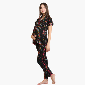 House of Napius Maternity Printed Shirt and Pyjamas Set