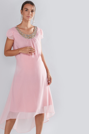 House of Napius Maternity Embellished Dress with High Low Hem