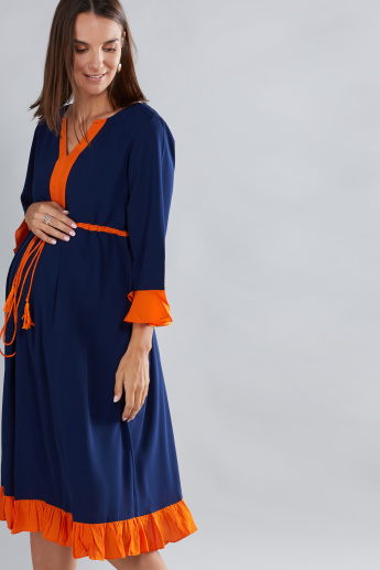House of Napius Maternity Midi Dress with 3/4 Sleeves and Tie Ups