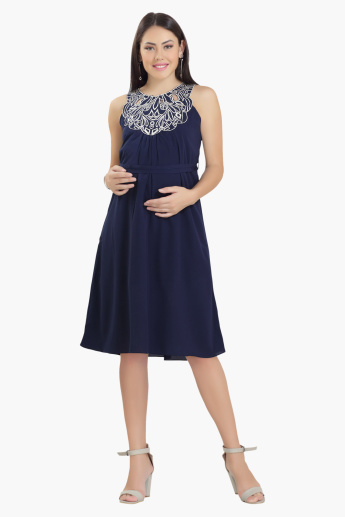 House of Napius Maternity Midi Dress with Embroidered Yoke